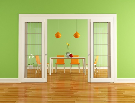 glass doors: green and orange dining room with open sliding door - rendering Stock Photo