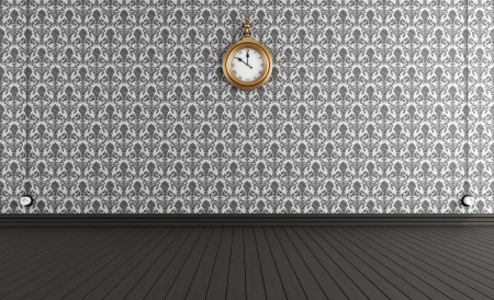 Black and white old style room with vintage clock - rendering photo