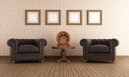 vintage living room: Vintage room with two leather armchair and old radio - rendering