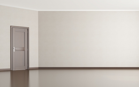 Empty room with a slanted wall with wooden door - rendering Stock Photo - 14635279