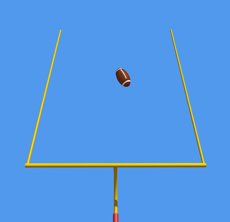 American football kicked through the goal posts against blue sky -rendering photo