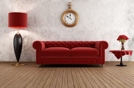 red sofa: vintage livingroom with classic couch against grunge wall - rendering Stock Photo