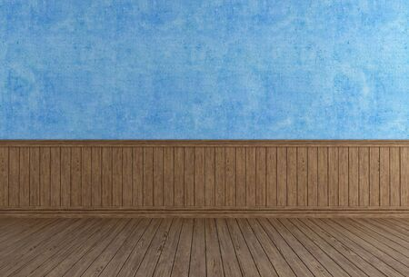 Vintage interior with blue wall and old wooden panel - rendering photo