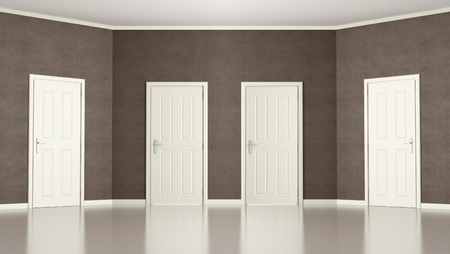 Empty room with slanted wall with four  doors- rendering Stock Photo - 14811423