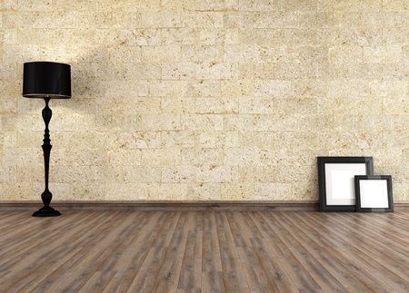 living room minimalist: empty grunge interior with old stone wall - rendering