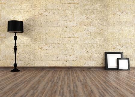 grunge interior: grunge interior vac�o con la pared de piedra - la prestaci�n Foto de archivo