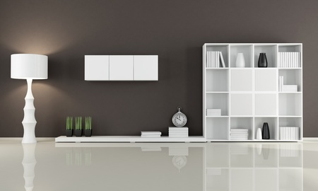 hnědá obývací pokoj bez sedací soupravou - rendering photo