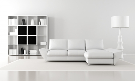 living room minimalist: black and white minimalist living room - rendering Stock Photo