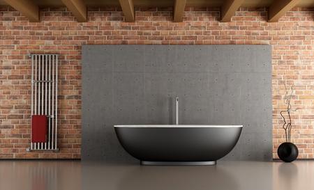 radiador: Cuarto de ba�o con ba�era minimalista negro delante de una pared de ladrillo y cemento-rendering