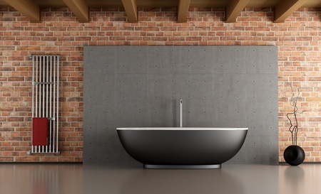 bathtub: Minimalist bathroom with black bathtub in front a cement and brick wall-rendering
