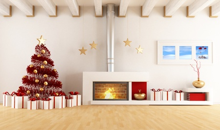 White living room with fireplace and christmas tree - the art image on wall is a my composition available in my portfolio
