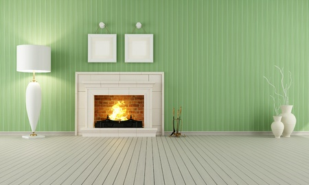 fireplace home: Vintage interior with green wallpaper and classic fireplace Stock Photo