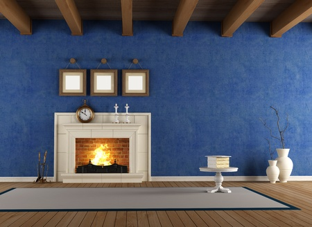 old room: blue vintage interior with classic fireplace and wooden ceiling