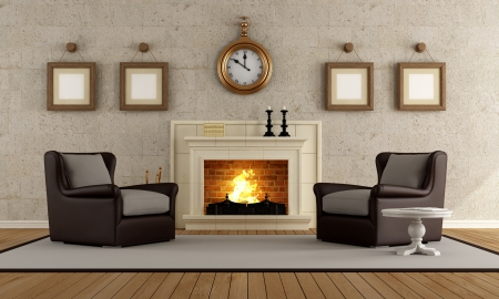 stone fireplace: Vintage living room with two armchair and fireplace - rendering Stock Photo