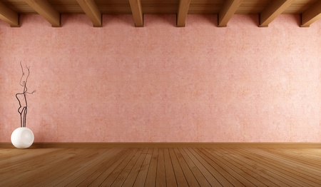 minimalist interior: empty room with salmon pink stucco wall and wooden ceiling - rendering