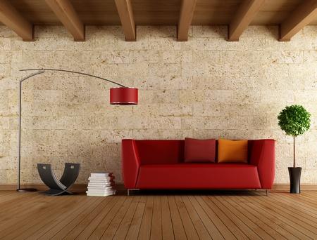 Sofá moderno rojo en una vieja habitación - representación