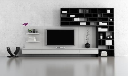 living room minimalist: black and white  living room with tv stand and bookcase - rendering