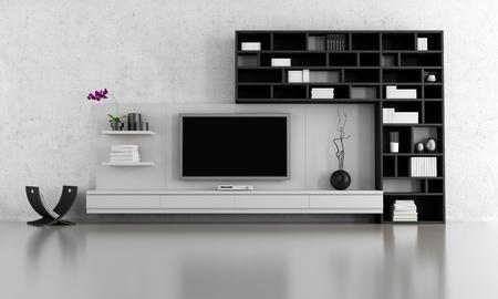 vida en blanco y negro habitación con soporte de TV y librería - representación Foto de archivo