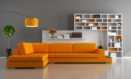living room minimalist: Contemporary livingroom with orange sofa and bookcase - rendering