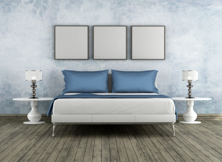 bed room: Modern bad in a vintage room - rendering Stock Photo