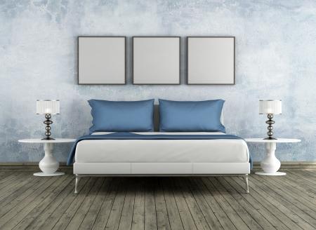 chambre à coucher: Moderne mauvais dans une pièce vintage - rendu Banque d'images