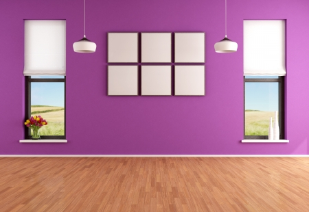 Empty modern purple room with two windows - rendering - the image on background is a my photo photo