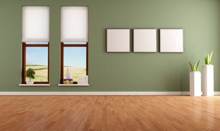 green room: Green empty room with two wooden windows - rendering-the image on background is a my photo