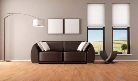 Brown living room with modern couch - rendering - the image on background is a my photo photo