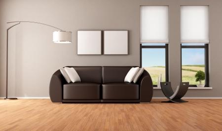 Soggiorno marrone con divano moderno - rendering - l'immagine sullo sfondo è una mia foto Archivio Fotografico