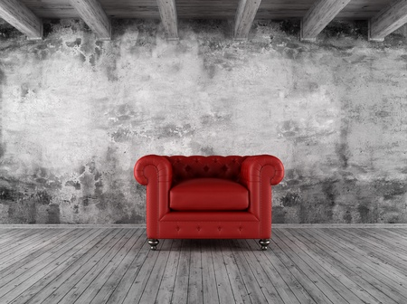 lounge room: black and white grunge interior with red  classic armchair - rendering Stock Photo