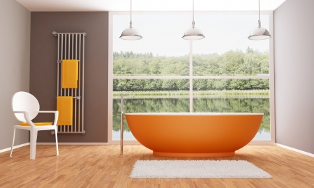Brown and orange modern bathroom photo