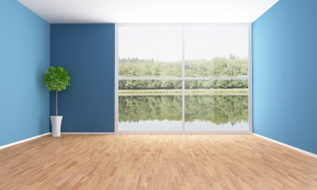window plant: Empty interior of a lake house