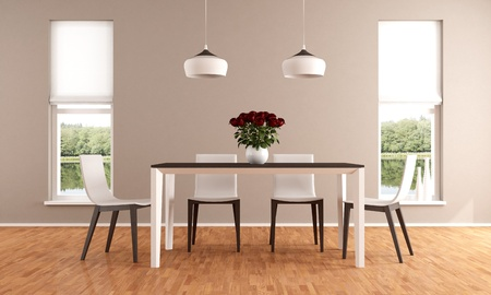 dining table: Elegant beige dining room Stock Photo