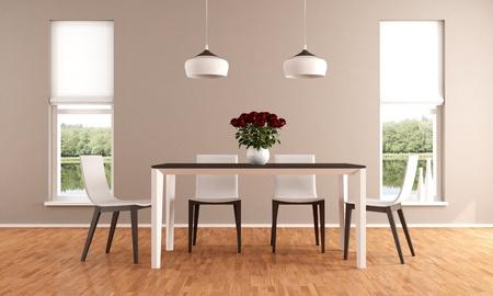 tavolo da pranzo: Elegante sala da pranzo beige