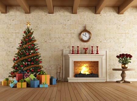 livingroom: Vintage livingroom with christmas-tree gift and fireplace - rendering