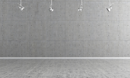 concrete wall: Minimalist  empty room with panel and concrete floor - rendering