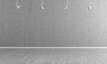 Minimalistische lege kamer met paneel en betonnen vloer - rendering