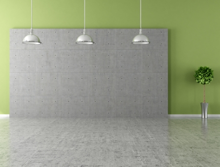 the interior of a room: Modern empty room with panel and concrete floor