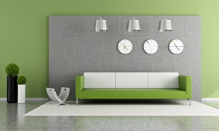 Contemporary livingroom with panel and concrete floor - rendering photo
