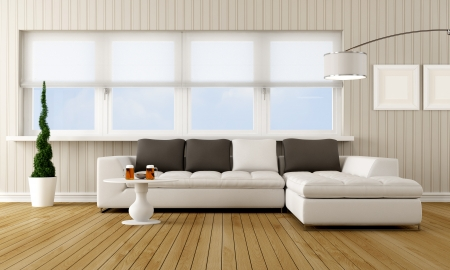 modern living room with corner sofa in front of a large window- rendering photo