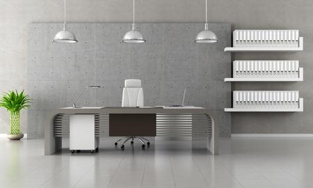 mobilier bureau: Bureau minimaliste avec panneau et le plancher b�ton - rendu