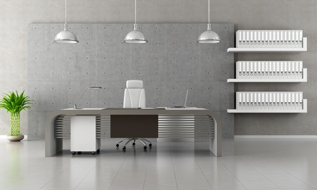 Minimalist office with panel and concret floor - rendering photo