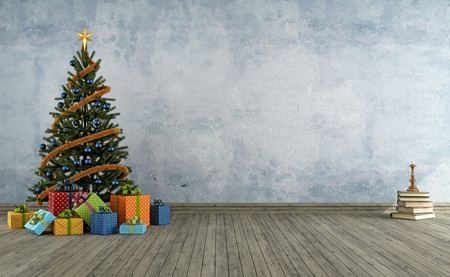christmas candle: empty vintage room with christmas-tree and colorful gift - rendering Stock Photo