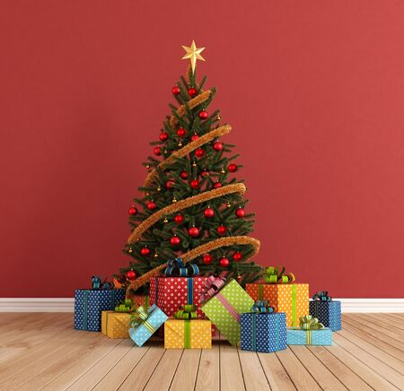 red room with christmas-tree and colorful gift - rendering photo