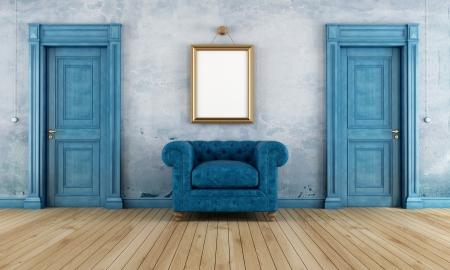 cerrar la puerta: Azul cuarto vac�o vendimia con dos puertas cl�sicas y de lujo sill�n-rendering