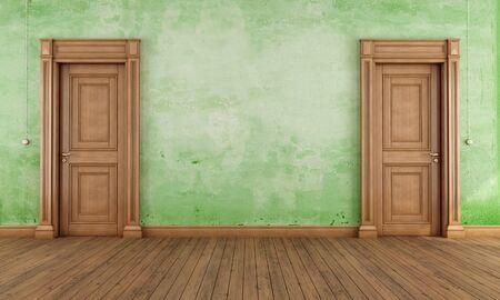 green door: Green empty vintage room with two classic  wooden doors- rendering