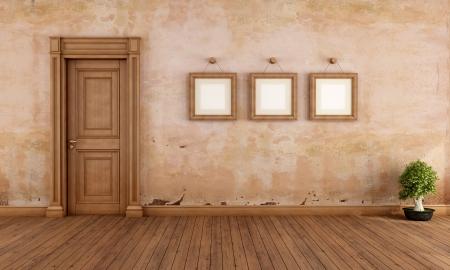 grunge interior: Empty vintage interior with wooden door and empty frame - rendering