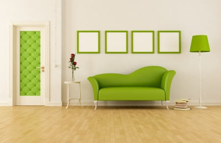 classic  livingroom with door and fashion couch- rendering