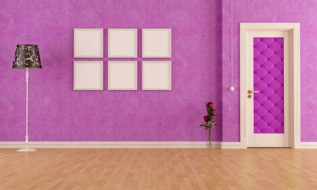 Purple classic interior with elegant door - rendering photo