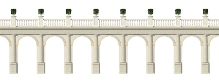 balustrade: Tuscany colonnade with arches and balustrade isolate on white- rendering